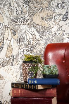 A designer wallpaper with highly detailed organic design featuring a beautiful bird motif in sumptuous shades of metallic gold, black and white. Feather Wallpaper, Animal Magic, Designer Wallpaper, Beautiful Birds, Black And White, Interiors, Metallic Gold, Powder Room, Color