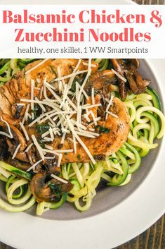 Balsamic Chicken with Garlic Zucchini Noodles - Slender Kitchen. Works for Clean Eating, Gluten Free, Low Carb, Paleo, Weight Watchers® and Whole30® diets. 273 Calories.