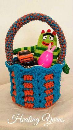 Easter Basket - free crochet pattern myhobbyiscrochet.com
