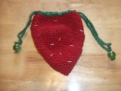 Crochet strawberry bag