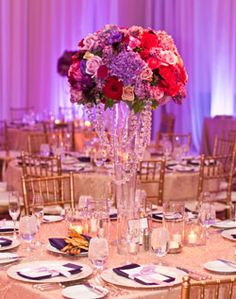 Purple, pink and champagne color wedding table