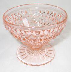 Vtg Holiday Pink Depression Glass Footed Sherbet Jeannette