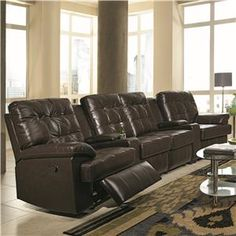 Grace 4 Person Reclining Home Theater Seating with Consoles, Cup Holders and Tufting