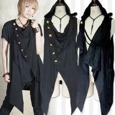 Japanese Harajuku Punk Gothic Men's Asymmetry Jacket Waistcoat Vest Black #new #Vest