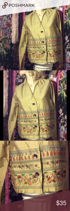Pale gold silk jacket with gorgeous print bottom Pale gold silk jacket with gorgeous Print in three tiers of hearts leaves flowers and birds print is even on sleeve Cuffseven the three buttons are amazing looks like pearlize shells Vintage Jackets & Coats