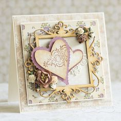Ramka kwadratowa - wycinanka potuszowana Heart Cards, Cardmaking, Valentines Day, Decorative Boxes, Colours, Scrapbooking, Frame, Diy, Handmade Cards