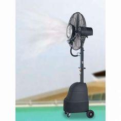 Um Ventilador com Pulverizador de água é uma forma económica e ecológica de arrefecer um espaço interior ou exterior, sem os sacrifícios económicos ou de salubridade do ar condicionado.