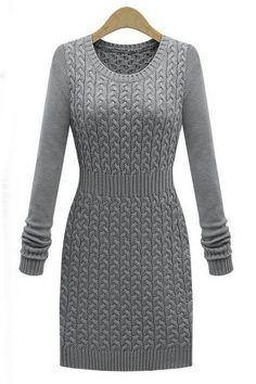 Round neck long sleeve hair dress(3colors)_Dresses_CLOTHING_Voguec Shop