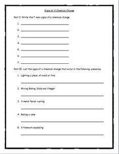 Worksheet: Chemical Physical Change   Chemistry   Pinterest ...