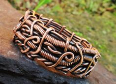 Copper band ring mens unisex Wide wire wrap by MateriaMorfosi