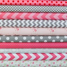 Gray & Pink floral fabric bundle 1 FQ each of 10 by WhimsyQuilts, $25.00