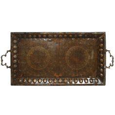 Brass Copper Tray Inlaid with Islamic Koranic Calligraphy-.xx tracy porter. poetic wanderlust. xx