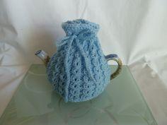 hand knitted tea cosy cosie cornflower blue small pot uk seller
