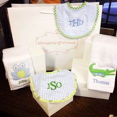 Monogrammed burp and bib sets from Monograms off Madison