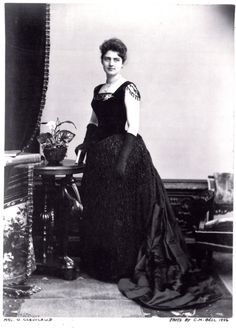 Photo of First Lady Frances Cleveland in an evening dress, circa 1886, United States, Smithsonian Museum of American History