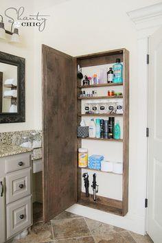 Bathroom Mirror Storage, Bathroom Storage Solutions, Diy Bathroom, Tiny House Bathroom, Bathroom Interior, Bathroom Ideas, Mirror For Small Bathroom, Bathroom Vanities, Wall Mirror