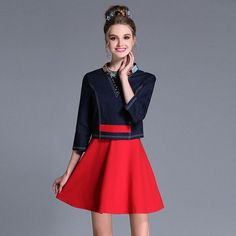 Beaded Contrast 2 in 1 Mini A Line Dress Plus Size Women Three Quarter Sleeve Autumn Winter Embellished Dresses L to 5xl