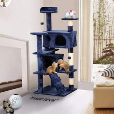 Yaheetech Cat Tree Tower Condo Furniture Scratch Post for Kittens Pet House Play Navy Blue *** More info could be found at the image url. (This is an affiliate link) Furniture Scratches, Cat Activity, Condo Furniture, Cat Towers, Scratching Post, Cat Tree, Animal House, Pet Supplies, Dog Cat