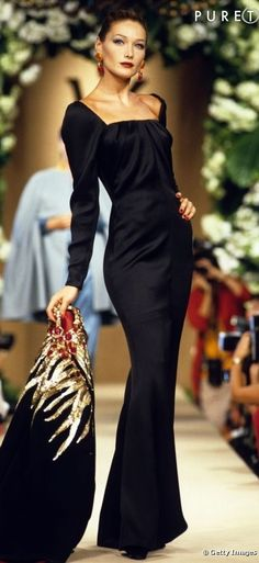 Italian-French model Carla Bruni, YSL Couture (1997)