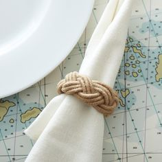 Rope Napkin Ring design by Twos Company ($4) ❤ liked on Polyvore featuring home, kitchen & dining, napkin rings, two's company and rope napkin rings