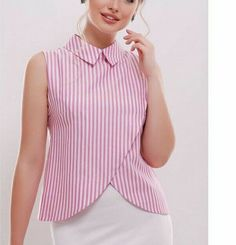 / pink and white striped blouse / Blouse Styles, Blouse Designs, Clothing Patterns, Dress Patterns, Women's Clothing, Girl Fashion, Fashion Dresses, Womens Fashion, Fashion News