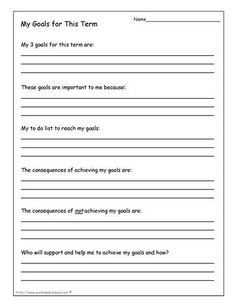 FREE Student goals worksheet. Allows students to make three goals ...