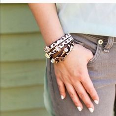 Leopard double band bracelet 18k plated metal. Glass crystals. Nickel and lead free. So gorgeous on. High quality durable  magnetic closure. I had to keep one! first and last photo courtesy of T&J Designs. Jewelry Bracelets