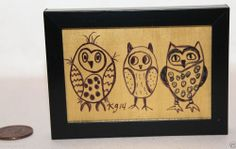 Owl Cuties 2 x 3 inches FRAMED Mini PRIMITIVE Drawing FOLK ART ORIGINAL Karla G