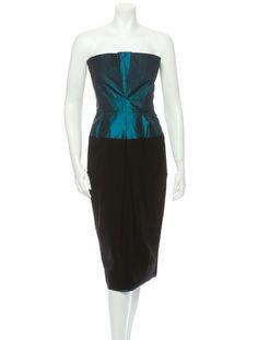 Donna Karan Dark teal and black colorblock evening dress with front pleats.