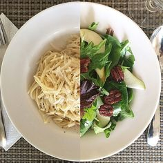 Greens with pears and spiced pecans & Spaghetti Cacio e Pepe Spiced Pecans, Pears, Spaghetti, Spices, Healthy Eating, Pasta, Ethnic Recipes, Food, Meal