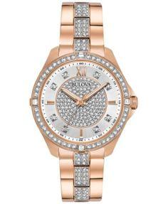 Bulova Women's Dress Crystal Rose Gold-Tone Stainless Steel Bracelet Watch 35mm 98L229   macys.com