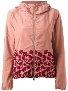 Pink floral embroidered #jacket from #Moncler featuring a hood, a front zip fastening, long sleeves, side seam pockets, a loose fit and a straight hem.