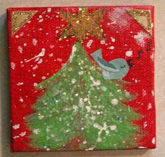 Christmas Tree Holiday Decor Blue Bird on Christmas by JillsDream, $15.00