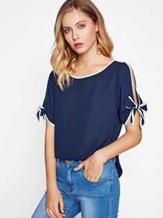 SheIn offers Contrast Binding Split Tie Sleeve Top & more to fit your fashionable needs. Fall Fashion Outfits, Casual Fall Outfits, Denim Fashion, Work Outfits, Fashion Art, Womens Fashion, Bow Blouse, Fashion Design Sketches, Couture