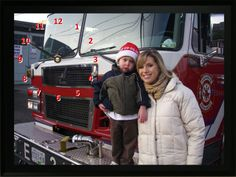 Each year we donate to the Greater Vancouver Food Bank Society. My son Nathan had his photo taken on a fire truck with BTV host Dawn Chubai Photo Clock, Heroes Book, Fire Hall, Food Bank, Custom Photo, Canada Goose Jackets, Dawn, Winter Jackets, Santa