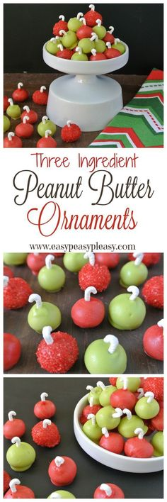 Easy 3 Ingredient Peanut Butter Ornaments are the perfect sweet treat to make for Christmas! Christmas Food Treats, Best Christmas Cookies, Xmas Food, Holiday Cookies, Christmas Desserts, Holiday Treats, Christmas Baking, Holiday Recipes, Christmas Candy