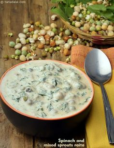 This scrumptious and refreshing Spinach and Mixed Sprouts Raita makes an exciting accompaniment to any meal. Raitha Recipes, Sprout Recipes, Indian Food Recipes, Salad Recipes, Vegetarian Recipes, Cooking Recipes, Healthy Recipes, Recipies, Dessert Recipes