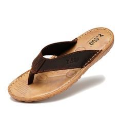 Mens flip flops genuine leather slippers summer fashion beach sandals shoes plus size pantufa | worth buying on AliExpress