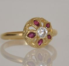 Ruby Flower Ring  Unique Ruby Ring  14k Gold by malkaravinajewelry