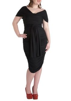 Swish It Up Ruched Dress in Black - Plus Size, #ModCloth