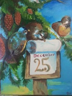 Acrylic painting  Count Down to Christmas