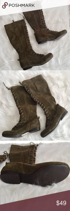 "Nine West Casilda olive knee boots. Size 6 1/2 Great condition Nine West Casilda olive knee high boots. Size 6 1/2. 16"" high. Nine West Shoes Lace Up Boots"