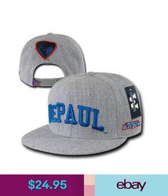 Hats Gray Depaul University Blue Demons Ncaa Flat Bill Snapback Baseball Ball Hat Cap #ebay #Fashion