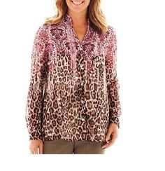 dc251d2b9 Alfred Dunner Womens Blouse Shirt Buttons Circle Oaks Long Sleeves size 14  NEW