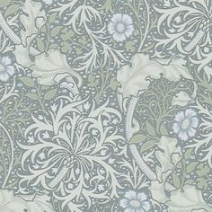 From the Morris & Co collection 'Morris Seaweed' design in ink and woad shows a free flowing and sinuous pattern which captures the underwater movement of plants. From the new William Morris Archive III collection, buy online today. William Morris Wallpaper, Morris Wallpapers, William Morris Tapet, Hallway Wallpaper, Kitchen Wallpaper, Black Wallpaper, Art Chinois, Art Japonais, Blue Home Decor