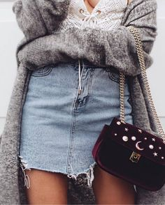 cozy fall outfit : grey cardigan + lacer top + bag + denim skirt