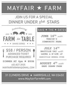 Farm to Table Dinners at Mayfair Farm   Monadnock Buy Local