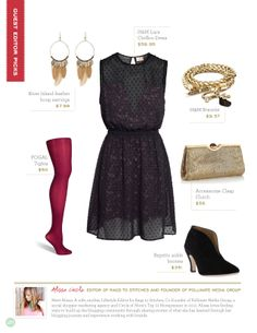 holiday outfit inspiration // I love the pop of color from the tights.