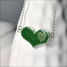 Evergreen Heart Pendant, Green Christmas Heart by Trisha Flanagan via #Etsy