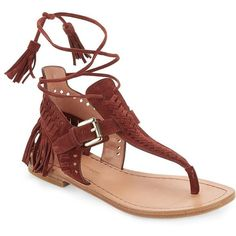 Sigerson Morrison Alysa Suede Fringe Accented Thong Sandals ($137) ❤ liked on Polyvore featuring shoes, sandals, flat sandal, brown, toe thongs, suede fringe flat sandals, thong sandals, brown suede sandals and suede fringe sandals